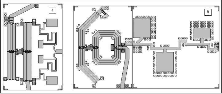 Рис. 3. Примеры топологической реализации кольцевых смесителей:  а) топология кольцевого смесителя Х-диапазона; б) топология кольцевого смесителя С-диапазона