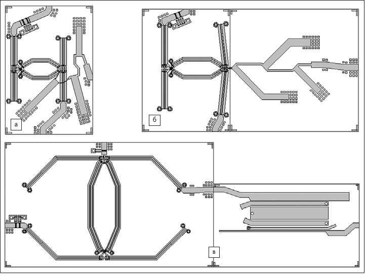 Рис. 7. Примеры топологической реализации кольцевых смесителей с «U-коленом»:  а) топология смесителя с «U-коленом» для Х-диапазона; б) топология смесителя с «U-коленом» для C-диапазона;  в) топология смесителя с «U-коленом» для L-диапазона
