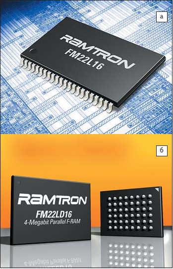 Рис. 2. Внешний вид микросхем Ramtron: а) FM22L16; б) FM22LD16