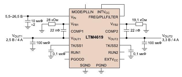 Стабилизатор LTM4619 с двумя выходами