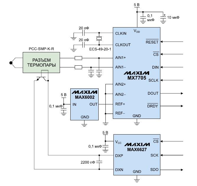 Схема измерения с термопарой