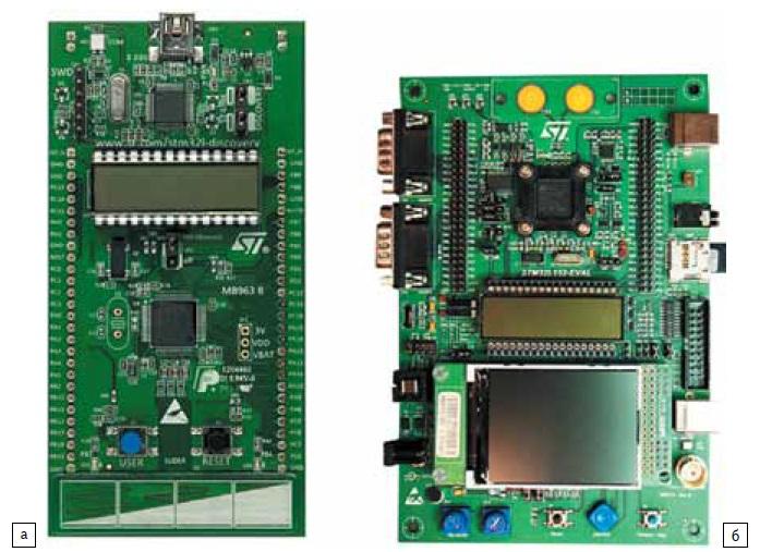 Отладочные комплекты: а) STM32L Discovery; б) STM32L152-EVAL