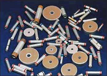 Рис. 1. Трубчатые и дисковые  многослойные конденсаторы
