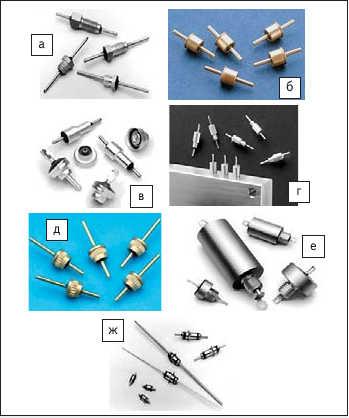 Рис. 4. Основные типы фильтров:  а) резьбовые, герметизированные компаундом;  б) безрезьбовые, герметизированные металлостеклянным спаем;  в) безрезьбовые, герметизированные компаундом;  г) резьбовые без шестигранной головки;  д) для прессовой посадки;  е) для больших напряжений и токов; ж) глазковые