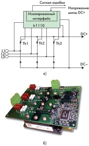 Рис. 4. Схема подключения (а) и внешний вид платы IRMDSS1 (б) с драйвером IR1110 и тиристорным выпрямителем