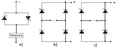 Рис. 7. Конфигурации схем соединения тиристоров