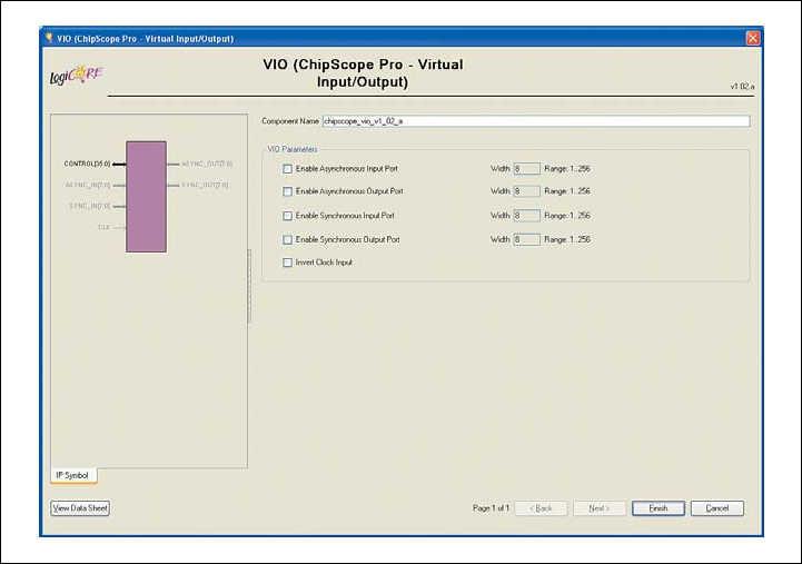 Рис. 13. Вид диалоговой панели «мастера» настройки параметров ядра Virtual Input/Output (VIO) версии v1.02a