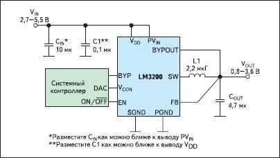 Типовая схема включения ИСН LM3200