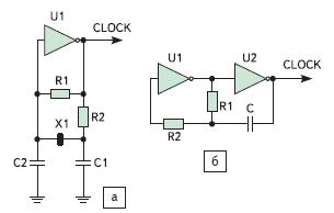 Примеры простейших схем тактовых генераторов: а) схема Пирса с кварцевым или керамическим резонатором; б) RC$генератор с обратной связью