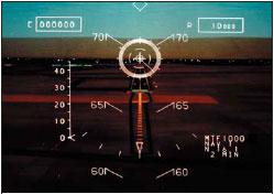 Изображение виртуального полетного индикатора, проецируемое на экран козырькового дисплея