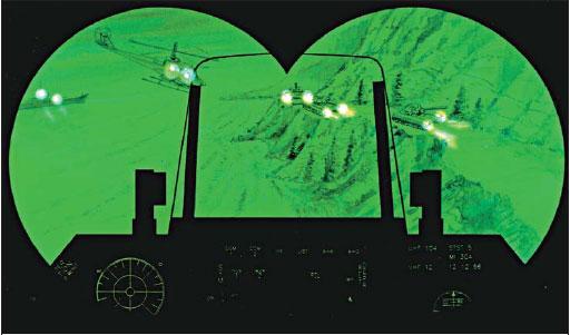 Нашлемный дисплей системы ночного видения пилота боевого вертолета