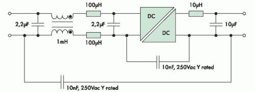 Рис. 4. Возможная схема фильтрации дифференциальных и синфазных шумов для серии NPH