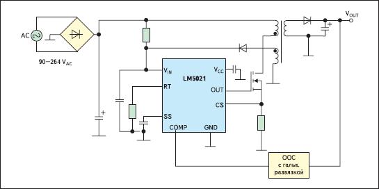 Упрощенная схема включения ШИМ-контроллера LM5021 в сетевом источнике питания