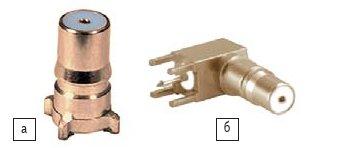 Рис. 9. Соединители QMA: а) прямая розетка; б) угловая розетка
