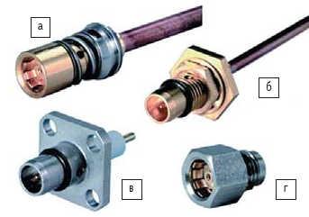 Рис. 6. Соединители BMA: а) розетка проходная для полужесткого кабеля; б) вилка приборно-кабельная для полужесткого кабеля; в) ввод энергии - вилка панельная фланцевая; г) ввод энергии - розетка резьбовая