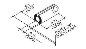 Рис. 9. Скользящий контакт 73-Z-0-0-204 (в скобках - размеры в дюймах)