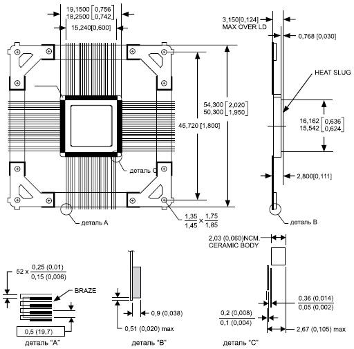 Чертеж корпуса микросхемы ADS5400-SP