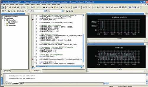 Окно VisualDSP++ с графиками входных данных и результатов расчета амплитудного спектра