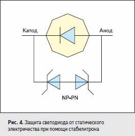 Защита светодиода от статического электричества при помощи стабилитрона