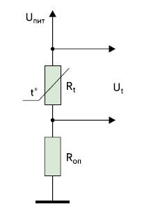 Схема измерения температуры с использованием ТС