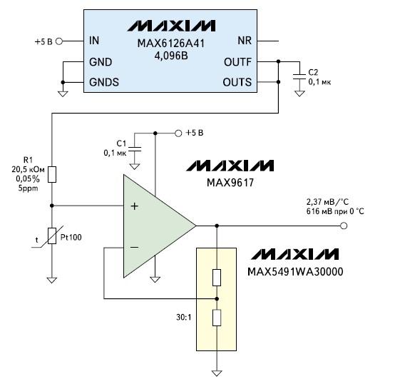 Простейшая схема подключения термометра Pt100