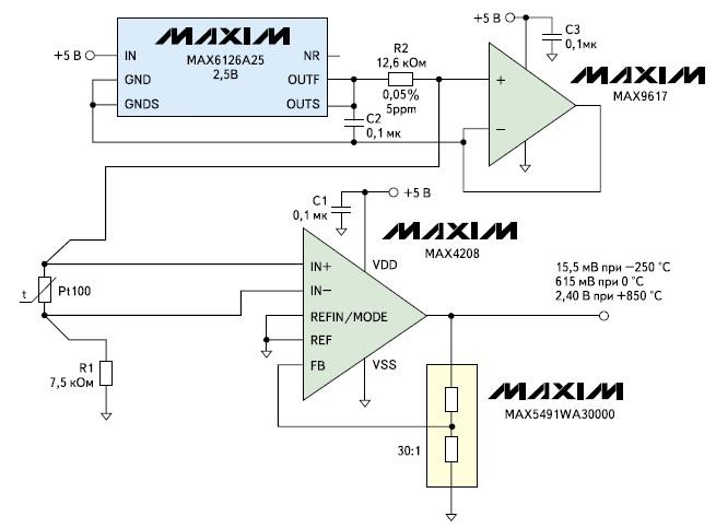 Схема подключения термометра сопротивления Pt100