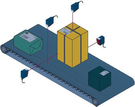 Рис.10. Использование датчиков DT60 для измерения размеров коробок на конвейере