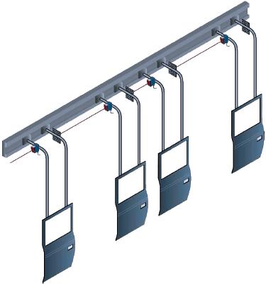 Рис.13. Применение датчиков DL60 для поддержания заданных промежутков на конвейере в автомобильной промышленности