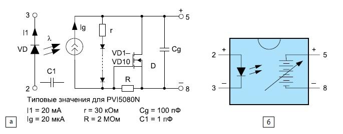 Эквивалентные схемы оптического изолятора