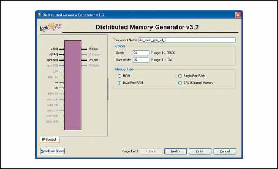 Стартовая диалоговая панель «мастера» настройки параметров генератора элементов оперативных и постоянных запоминающих устройств, реализуемых на основе распределенной памяти ПЛИС