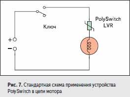 Стандартная схема применения устройства PolySwitch в цепи мотора