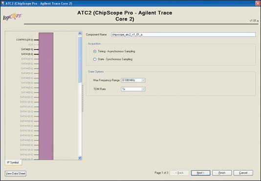 Рис. 17. Вид стартовой диалоговой панели «мастера» настройки  параметров ядра Agilent Trace Core 2 (ATC2) версии v1.01a