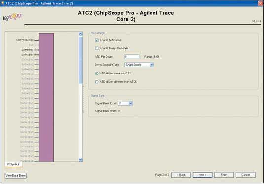 Рис. 18. Вид второй диалоговой панели «мастера» настройки  параметров ядра Agilent Trace Core 2 (ATC2) версии v1.01a