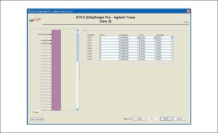 Рис. 19. Вид третьей диалоговой панели «мастера» настройки параметров ядра Agilent Trace Core 2 (ATC2) версии v1.01a