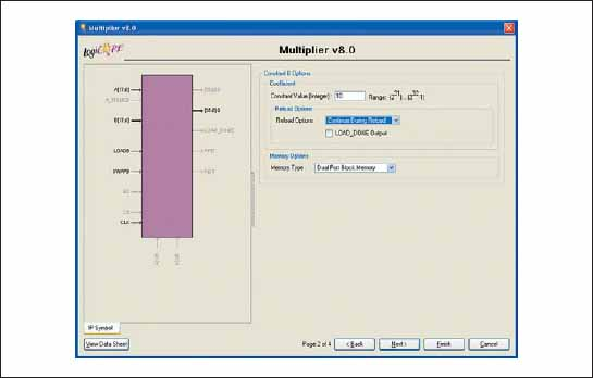 Вид диалоговой панели Constant B Options «мастера» настройки параметров ядра умножителя Multiplier Generator версии v8.0, предназначенной для определения параметров задаваемого коэффициента