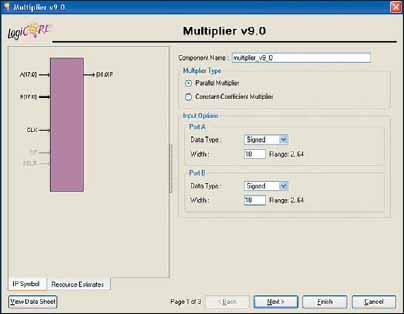 Вид стартовой диалоговой панели «мастера» настройки параметров ядра умножителя Multiplier Generator версии v9.0
