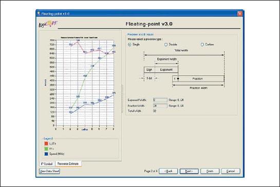 Диалоговая панель «мастера» настройки параметров ядра Floating-Point Operator версии v3.0, предназначенная для определения точности представления входных данных в формируемом элементе