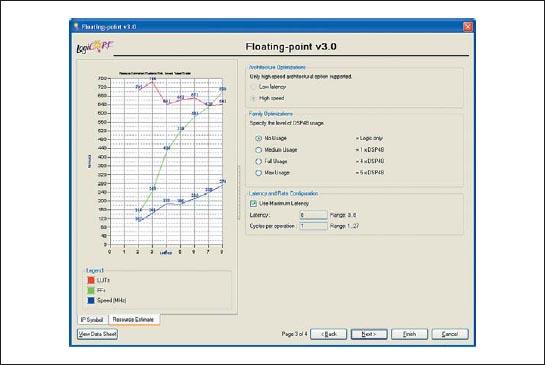 Диалоговая панель «мастера» настройки параметров ядра Floating-Point Operator версии v3.0, предназначенная для выбора критерия возможной оптимизации и определения требуемой величины задержки формирования результата в создаваемом элементе