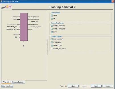 Заключительная диалоговая панель «мастера» настройки параметров ядра Floating-Point Operator версии v3.0, предназначенная для выбора входов сигналов управления, входов и выходов сигналов подтверждения, а также выходов специальных сигналов, включаемых в состав интерфейса генерируемого элемента