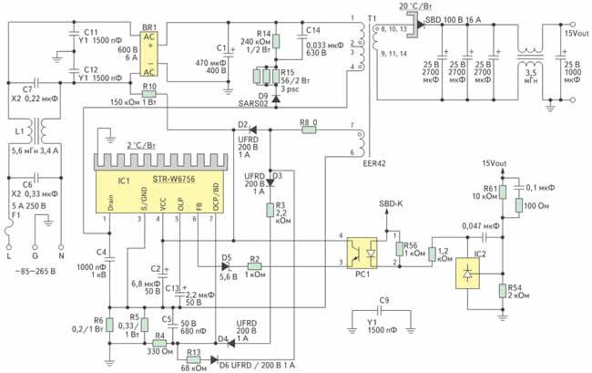 Электрическая принципиальная схема SMPS на микросхеме STR-W6756