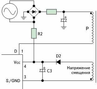Схема управления запуском микросхем STR-W6750