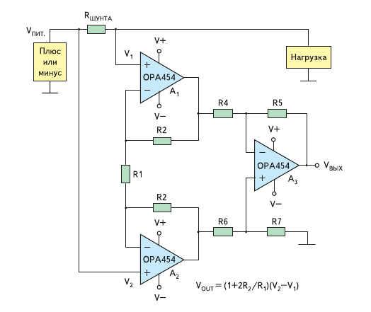 Рис. 6. Измеритель тока через шунт в верхнем плече на основе OPA454
