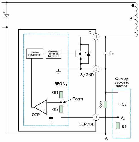Схема токовой защиты и детектора нулевого тока