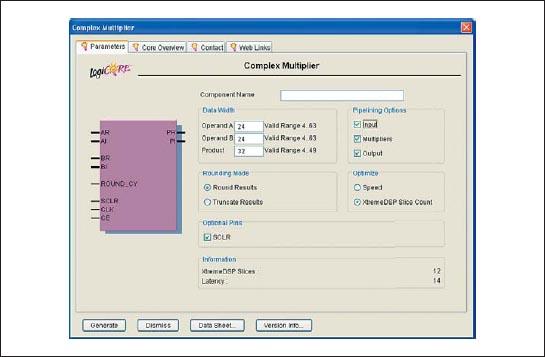 Страница Parameters диалоговой панели «мастера» настройки параметров ядра комплексного умножителя Complex Multiplier версии v2.1