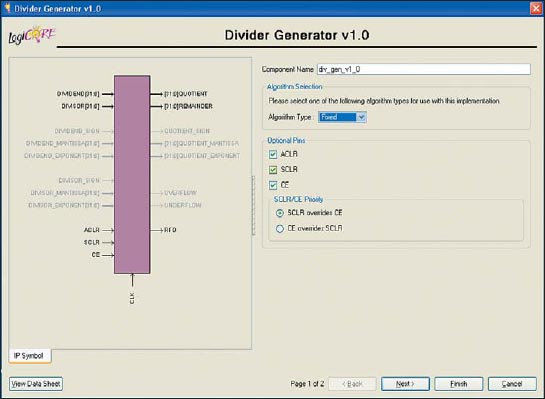 Стартовая диалоговая панель «мастера» настройки параметров ядра Divider Generator версии v1.0