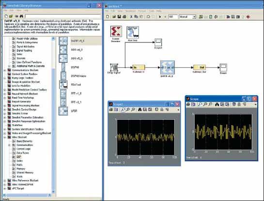 Внешний вид окна Simulink при работе с дополнением System Generator for DSP
