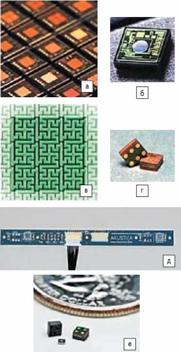 CMOS MEMS микрофоны Akustica: а)стандартное CMOS-производство MEMS-микрофонов; б)микрофонный кристалл размерами 1x1 мм; в)серпантинный паттерн; г)цифровые микрофоны AKU2002C; д)модуль массивов микрофонов AKU2xxx-Module-B, разработанный для оценки стерео цифрового выхода микрофонов; е)AKU1126 — аналоговый, самый малый микрофон размерами 2x2 мм