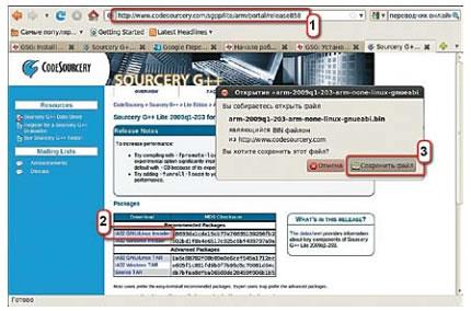 Выбор установочного пакета кросс-компилятора CodeSourcery