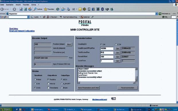 Рис. 5. Окно управления абсолютным энкодером с Ethernet-интерфейсом