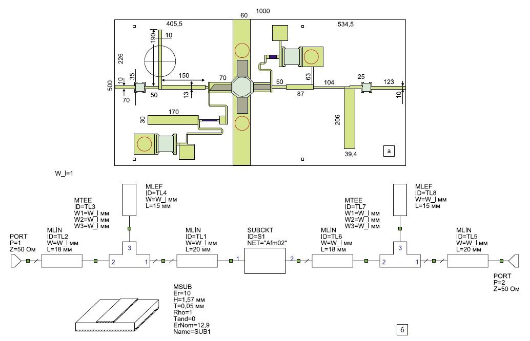 а) Топология транзисторного СВЧ-усилителя, созданная в MWO; б) схема транзисторного СВЧ-усилителя, составленная из узлового включения распределенных элементов